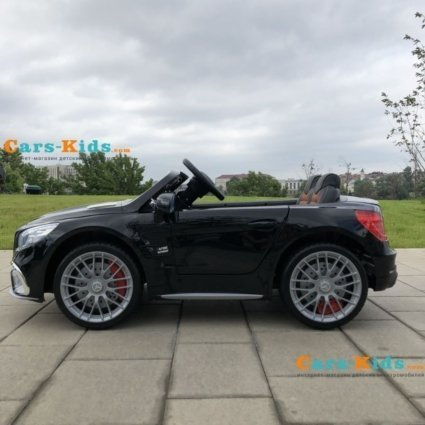 Электромобиль Mercedes-Benz SL65 AMG черный (колеса резина, кресло кожа, пульт, музыка)